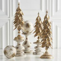 Gold Finished Decorative Holly Leaf Tree Set of 3