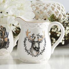 Gold Trim Deer Head Pitcher Vase