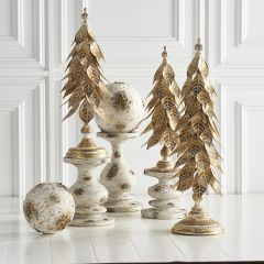 Gold Washed Farmhouse Candle Holders Set of 3