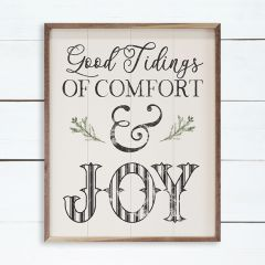 Good Tidings Of Comfort And Joy Greenery White Wall Sign