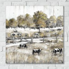Grazing Cows Wrapped Canvas Wall Art