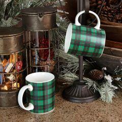 Green Tartan Plaid Coffee Mug Set of 4