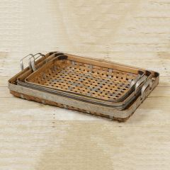 Handled Bamboo Basket Tray Collection Set of 3