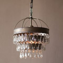 Hanging Pendant Light With Teardrop Crystals