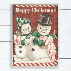 Happy Christmas Snowmen Wall Hanging