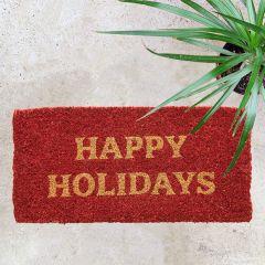 Happy Holidays Coir Doormat