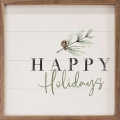 Happy Holidays Pine Branch White Wall Art