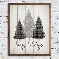 Happy Holidays Plaid Trees Wall Art