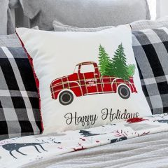 Happy Holidays Plaid Truck Pillow Cover