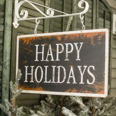 Happy Holidays Weathered Hanging Sign on Bracket