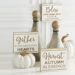 Harvest Message Wood Wall Signs Set of 3
