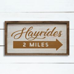 Hayrides Whitewash Framed Sign