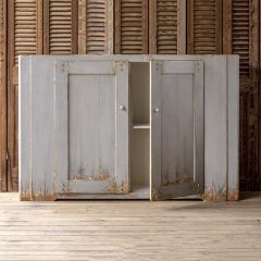 Heavily Distressed Pale Hued Storage Cabinet