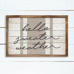 Hello Sweater Weather Stripe Whitewash Wall Art