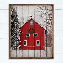 Holiday Barn In The Woods Framed Wall Art
