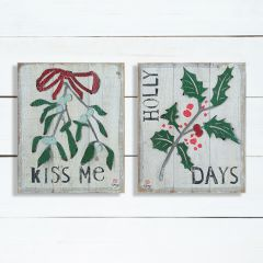 Holiday Charms Distressed Wood Wall Decor Set of 2
