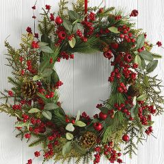 Holiday Crabapple Wreath With Berries And Pinecones