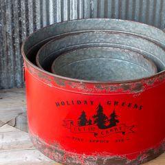 Holiday Greens Rustic Metal Tree Pots Set of 3