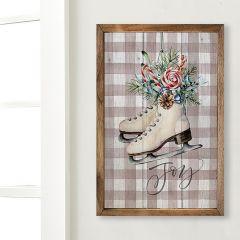 Holiday Ice Skates Framed Farmhouse Wall Decor