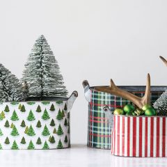 Holiday Patterned Buckets Set of 3