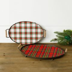 Holiday Plaid Metal Tray With Handles Set of 2