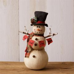 Holiday Snowman Figurine With Banner Sign Set of 2