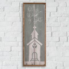 Holy Night With Church Rustic Wall Art