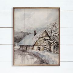 House In The Winter Framed Wall Art