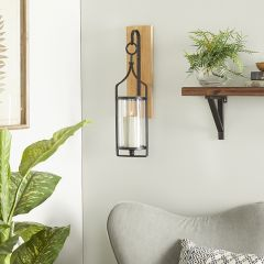 Hurricane Glass Wood and Metal Wall Sconce