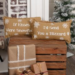 If Kisses Were Snowflakes Burlap Pillows Set of 2