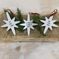Inspirational Ceramic Star Ornaments Set of 3