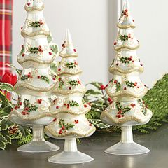 Jeweled Christmas Trees With Holly Set of 3