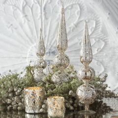 Jeweled Mercury Glass Tabletop Finials Set of 3