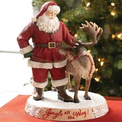 Jingle All the Way Santa and Reindeer Figurine