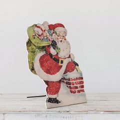 Jolly Standing Santa With Gifts on Easel