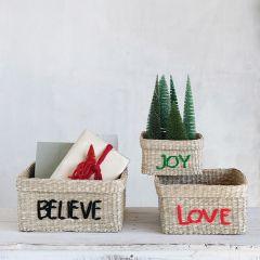 Joy Love Believe Baskets Set of 3