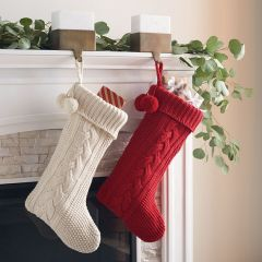 Knit Pattern Simple Holiday Stocking Set of 2