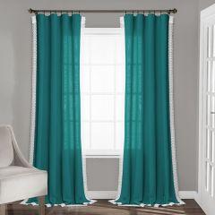 Lace Trim Faux Linen Teal Window Panel Set of 2