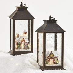 Lantern With Lighted Winter Village House, Set of 2