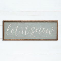 Let It Snow Framed Rustic Wall Sign
