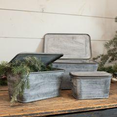 Lidded Metal Nesting Bins Set of 3