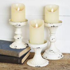 Light Tin Pillar Candle Holders, Set of 3