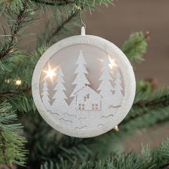 Lighted Glitter Woodland Silhouette Ornament
