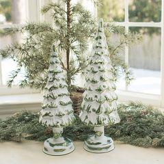 Lighted Snowy Glass Tree