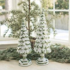 Lighted Snowy Glass Tree Set of 2