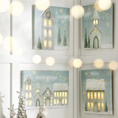Lighted Winter Village Wall Art, Set of 3