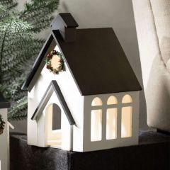 Lighted Wood Church With Holiday Wreath