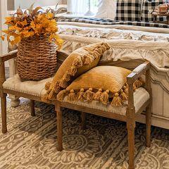 Linen Upholstered Farmhouse Bench