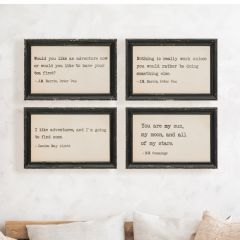 Literary Quote Framed Wall Decor, Set of 4