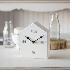 Little Metal House Tabletop Clock